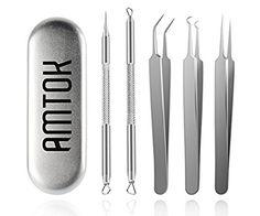 Price:$18.99 Now Sale:$14.95 Blackhead Tweezers Kit Pimple Comedone Extractor Tool Set Treatment for Blemish , Zit Popper (Tweezers Kit) #beauty #Personal care