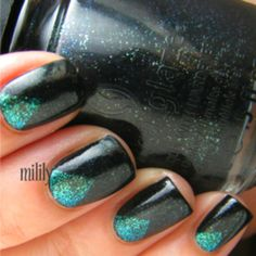 prom nails I was talking about instead the black would be red and the teal would be nude. an I'd be putting a diamond on the tip of the nude triangle. @Trini Detwiler