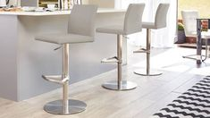 Curva Gas Lift Bar Stool in cool grey from Danetti. Kitchen Stools With Back, Bar Stools With Backs, Kitchen Counter Stools, High Back Bar Stools, Kitchen Seating, High Stool, Kitchen Tables, Kitchen Small, Grey Bar Stools