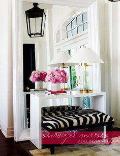 Entry Hall Mirror with console (existing) same colors on each - tone on tone