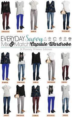 Check out this JCPenney capsule wardrobe that works great in the winter but will also easily transition to spring.  15 mix & match outfits  via @everydaysavvy