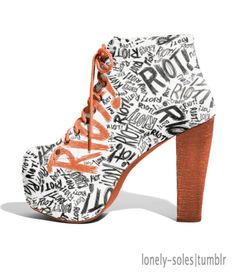 I absolutely adore this. I probably couldn't wear them, as I'd break my leg within 15 seconds...but cute nonetheless.