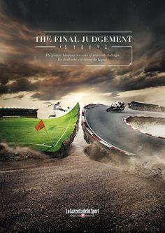 La Gazzetta dello Sport Newspaper: The Final Judgment via Integer Milan Creative Poster Design, Ads Creative, Creative Artwork, Creative Posters, Creative Advertising, Advertising Poster, Advertising Design, Advertising Campaign, Layout
