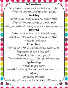 great questions to use before/while/after reading...Print and carry around while conferencing!