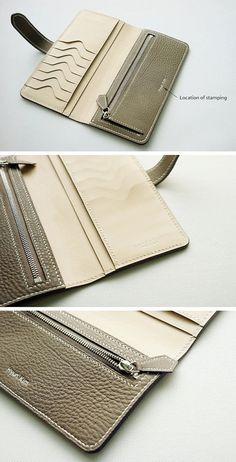 Handmade Wallet for Women Long Wallet Leather Wallet .- Handmade wallet for women Long wallet leather / stamp service – # … - Leather Wallet Pattern, Handmade Leather Wallet, Leather Clutch, Calf Leather, Leather Purses, Diy Wallet, Long Wallet, Clutch Wallet, Spring Handbags