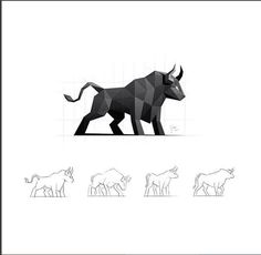 Dribbble - Bull / Logo Design by simc Polygon Logo, Polygon Art, Icon Design, Design Art, Web Design, Logo Inspiration, Costume Viking, Logo Branding, Branding Design