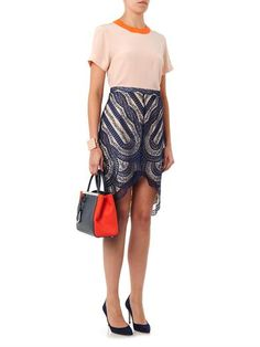 Shades of coral lighten the look for spring Navy Lace, French Lace, Lace Skirt, Coral, Shades, Spring, Skirts, How To Wear, Fashion