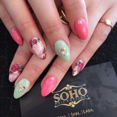"""Pink and mint green with floral """"slider"""" accent nails and floral rhinestone details. By Melissa at SOHO Nail Boutique in Vancouver, BC."""