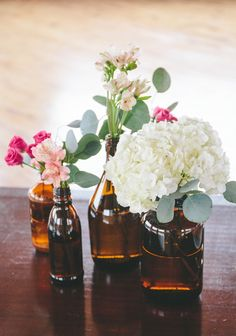 Use Growlers instead? Hydrangeas are one of the most affordable wedding flowers out there. And this DIY hydrangea centerpiece brings them back into 2015.
