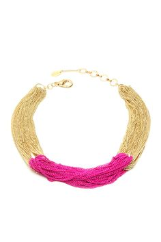 Khloe Necklace in gold and fuschia - I think I've found my newest DIY...