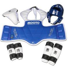 NEW tae kwon do Taekwondo&Karate head protector Mooto protective gear 5 pieces set pride armor arm guard shin guard WTF standard