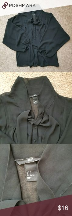 H&M Black Semi-Sheer Tie Bow Blouse *Size 2 but it's loose fitting so can easily fit size 4 or 6 tight *All buttons functional *In excellent used condition; only worn a handful of times and has been washed *No flaws to note! *From clean, pet-free and smoke-free home *Reasonable offers welcome! *Check out my free items! *Bundle & save! H&M Tops Blouses