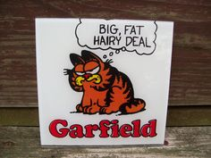 Vintage GARFIELD Glass Picture. $9.00, via Etsy.