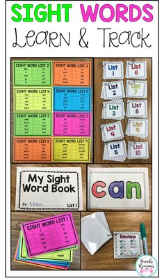 Sight Words: Learn and Track {Editable} Learn these 100 sight words and track your students growth with these easy to use tools. Students have to be fluent with sight words in order to make reading gains. These sight word activities and easy tracking is p Preschool Sight Words, Teaching Sight Words, Sight Words List, Sight Word Practice, Sight Word Activities, Reading Activities, Sight Word Centers, Sight Word Flashcards, Reading Fluency
