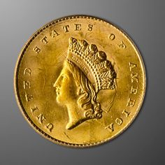 The scarcest of the gold dollar series, the Indian Princess Head Gold Dollar Type II (1854-1856) features the image of Miss Liberty wearing a feathered Indian headdress on the obverse and a wreath encircling the denomination and date on the reverse.
