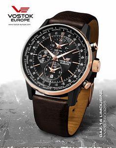 Vostok Europe Gaz-14 Limousine World Timer/Alarm Gold/Black Watch YM26-560F255