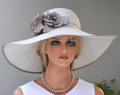 Wide Brim Hat Kentucky Derby Hat Formal Hat Weeding Hat