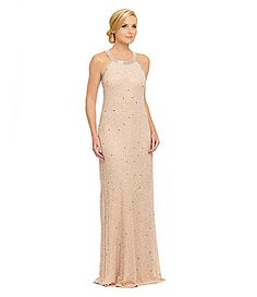 Adrianna Papell Beaded SheerBack Gown #Dillards
