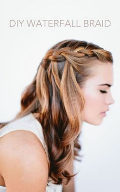Half Up and Half Down Hairstyles for Prom - DIY Waterfall Braid -Hairdos and Updo's for Short, Medium Length and Long hair - Great hair styles and Beauty for Prom Wedding Bride, Veils, Crown Braids, and Hair Accessories for Twists.