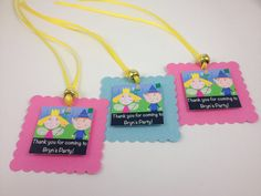 Items similar to 10 Personalized Ben and Holly's Little Kingdom Treat Bag Favor Ties Choose Ribbon and Bead Color on Etsy Blue Birthday, 2nd Birthday Parties, Birthday Favors, Birthday Ideas, Ben And Holly Party Ideas, Ben Elf, Ben E Holly, Party Themes, Cami