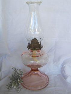 Tall ART Deco Pink Depression Giant Glass OIL Kerosene Lamp Shabby Pink Chimney | eBay