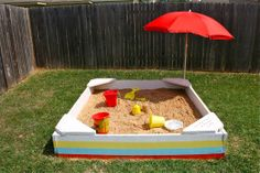 DIY backyard sandbox The sandbox has been a favorite backyard play area for generations of children, and building one is easy! Use low-cost lumber to build the box, the floor and some corner benches that provide extra stability as well as convenient places for your kids to sit. Paint the box in bright colors that will appeal to kids, and then buy a few bags of sand and use them to fill the box.