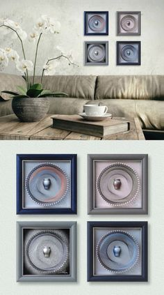 """Abstract Art Set, Wall decor, 3D Modern String Art, Light Blue, Pink, Gray, Framed 5,9""""x 5,9"""" (15x15cm), ready to hang, Ideas for Gifts - pinned by pin4etsy.com"""