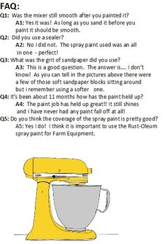 Post Update: FAQ for Painting Kitchen Aid Mixer....in case we end up with a different color scheme.