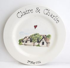 "Congratulations to Claire and Charlie who tied the knot. Their DIY personalised pottery plate was made by photographing their wedding venue. The photo was then coverted to an illustration using FREE online programme. The text was typed (and arched in Microsoft Word). Everything was printed and transferred using CLAY CARBON PAPER. The image was then ""coloured-in"" using underglaze - a dimensional glaze was used for the names and dates."