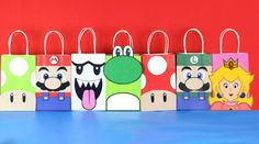 Decorate your Super Mario Party with these cute Mario and Friends faces on your Favor Bags. Use them to create your own favor bags or centerpieces. Super Mario Bros, Super Mario Birthday, Mario Birthday Party, Super Mario Party, Super Mario Brothers, Mario Bros., Mario And Luigi, Princess Peach Party, Princesa Peach