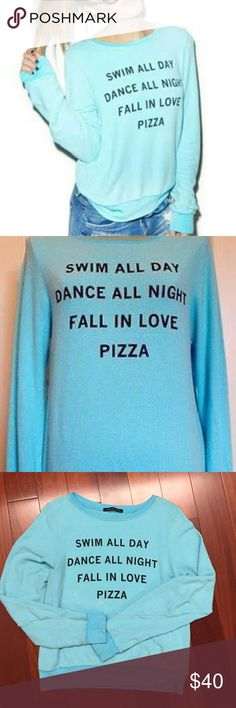 [wildfox] swim all day beach jumper [Wildfox] swim all day/dance all night/fall in love/pizza. Super soft fleece in baby blue. In great condition. Rayon/poly/spandex Wildfox Tops Sweatshirts & Hoodies