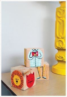 such a sweet idea: painted diy blocks for the kiddos.