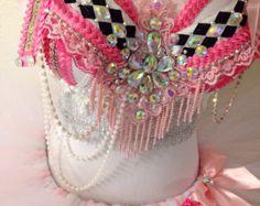 Pastel Rainbow Unicorn Plunge bra with matching by TheLoveShackk