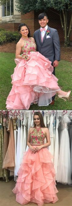 fashion two piece pink organza prom dress with embroidery, chic halter ruffles party dress with appliques