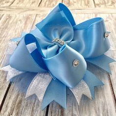 Cinderella Hair Bow Clip or Headband for Newborn Infant Toddler Little Girl Big Girl - available on an alligator clip or french clip - choose 4 inch, 5 inch, or 6 inch bow - bow is for all ages including babies and big girls - can be worn with or without a headband - blue crochet