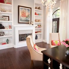 Built ins around the fireplace