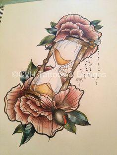 Hourglass Drawing, Hourglass Tattoo, 1 Tattoo, Tattoo Drawings, Neo Traditional Tattoo For Woman, Flor Oriental Tattoo, Just Ink, Sweet Tattoos, Tattoo Flash Art