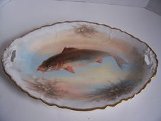 Such a Keepsake =>> Antique Limoges Fish Plates and Platter Signed by Artist Dubois c1900 B & H Mark #Limoges