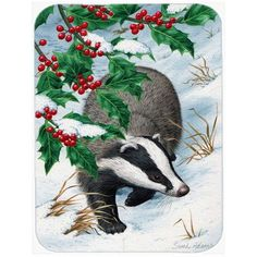 East Urban Home Badgers with Holly Berries Glass Cutting Board Evergreen Flags, Glass Cutting Board, Cutting Boards, Holly Berries, Christmas Animals, House Flags, Print Artist, Woodland Animals, Garden Flags