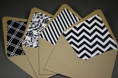 lined envelopes - good way to use up old pattered paper