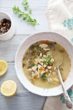 // lemon, chicken, orzo soup