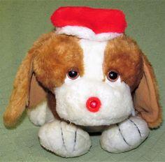 """RARE Vintage Musical Lights CHRISTMAS Puppy HOUND DOG 1980s Plush 13"""" TAIWAN Toy #unmarked"""