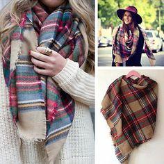 Winter-Women-Scotland-Tartan-Checked-Scarf-Shawl-Plaid-Pashmina-Stole-Neck-Warm