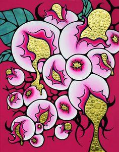 AYAKA WATAHIKI(japan) 「感熟ぶどう(kanjuku budou)」  116.7×910cm  キャンバス、アクリル、金箔、ミクストメディア  2013年