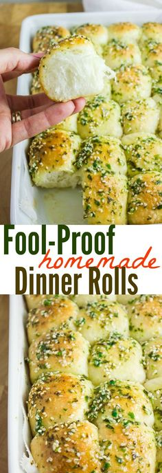 Fool Proof Homemade Dinner Rolls. These are pillowy, soft, fluffy, melt in your mouth soft dinner rolls. Light as air with a nice buttery taste--this dough is absolutely FOOL PROOF and it's a crowd pleaser every time! Get the step by step recipe and make this now! http://www.twopurplefigs.com