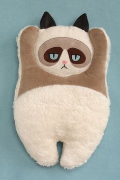 Plush pillow Grumpy Cat by PetitiPanda on Etsy, Cat Pillow, Plush Pillow, Crazy Cat Lady, Crazy Cats, Grumpy Cat Plush, Grumpy Baby, Couture Bb, Cat Crafts, Animal Pillows