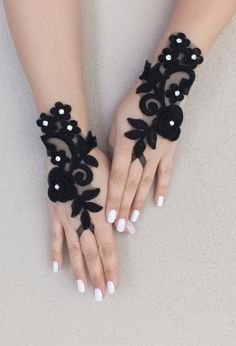 Rose gothic lace black Wedding gloves bridal gloves fingerless gloves Halloween costume french lace vampire free ship