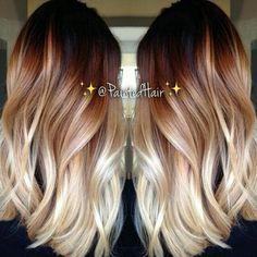 coiffure cheveux en dégradé brun blond
