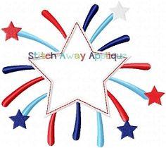 Patriotic Star Burst Applique - 4 Sizes!   4th of July Applique Machine Embroidery Designs   Machine Embroidery Designs   SWAKembroidery.com