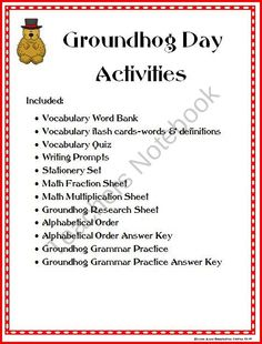 Groundhog Day Activities Packet product from Imagination-Station on TeachersNotebook.com